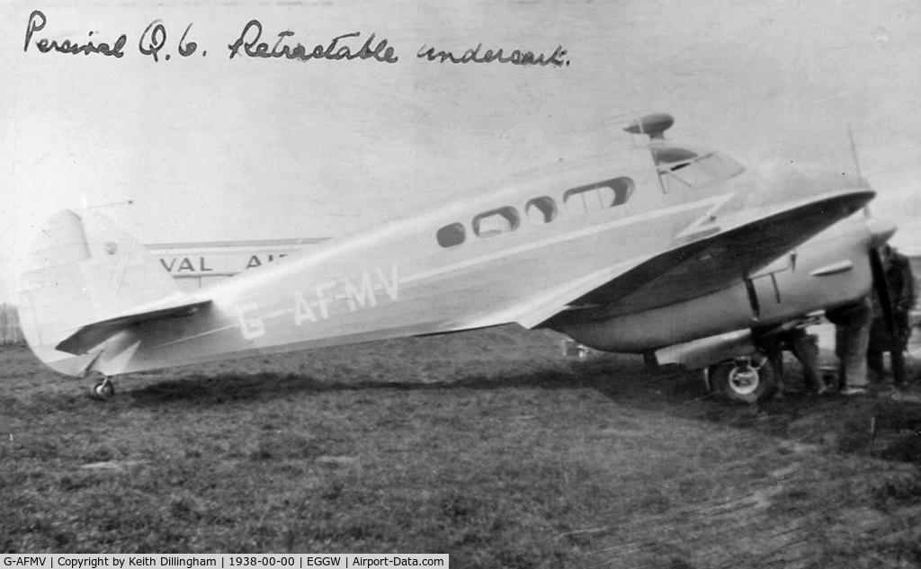G-AFMV, Percival P-16 Q-6 Petrel C/N Q37, Seen at Percival Aircraft, Luton Airport, circa 1938.
