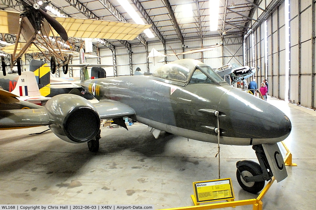 WL168, Gloster Meteor F.8 C/N Not found WL168, Meteor F8, WL168 was built at Hucclecote as part of the last batch of the 1090 F.8s built and entered service with the Royal Air Force in February 1954. For the first year it was with 111 Squadron at North Weald, then with 604 Sqn at the same airfield