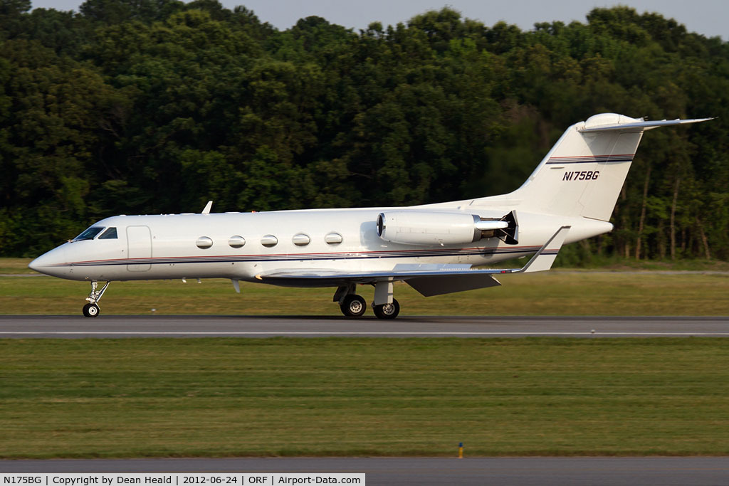 N175BG, 1983 Gulfstream Aerospace G-1159A C/N 396, Clay Lacy Aviation's 1983 Gulfstream G-III N175BG rolling out on RWY 5 after landing.