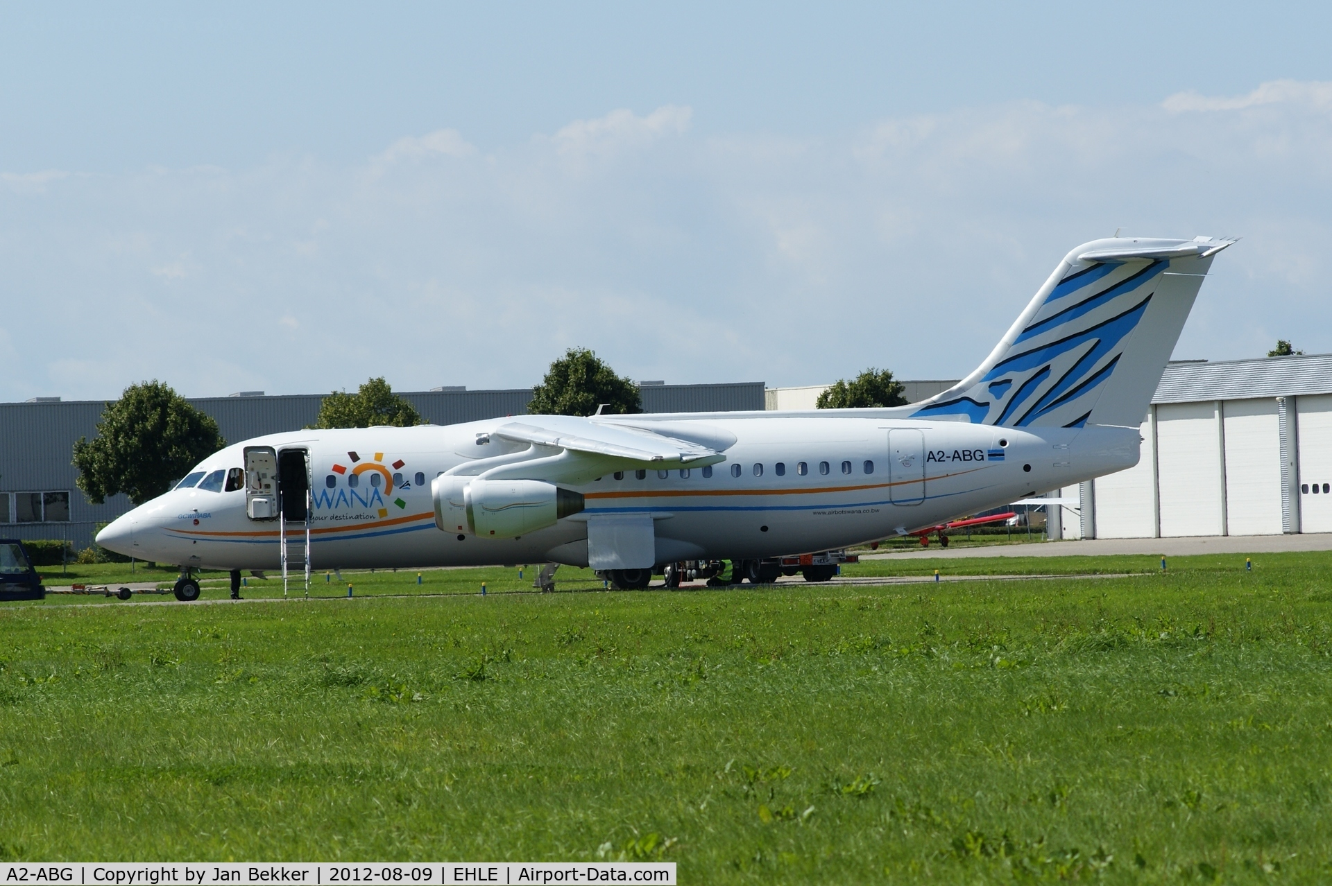 A2-ABG, 1997 British Aerospace Avro 146-RJ85 C/N E.2303, Former Lufthansa D-AVRP. Just got its new livey of Air Botswana by QAPS.