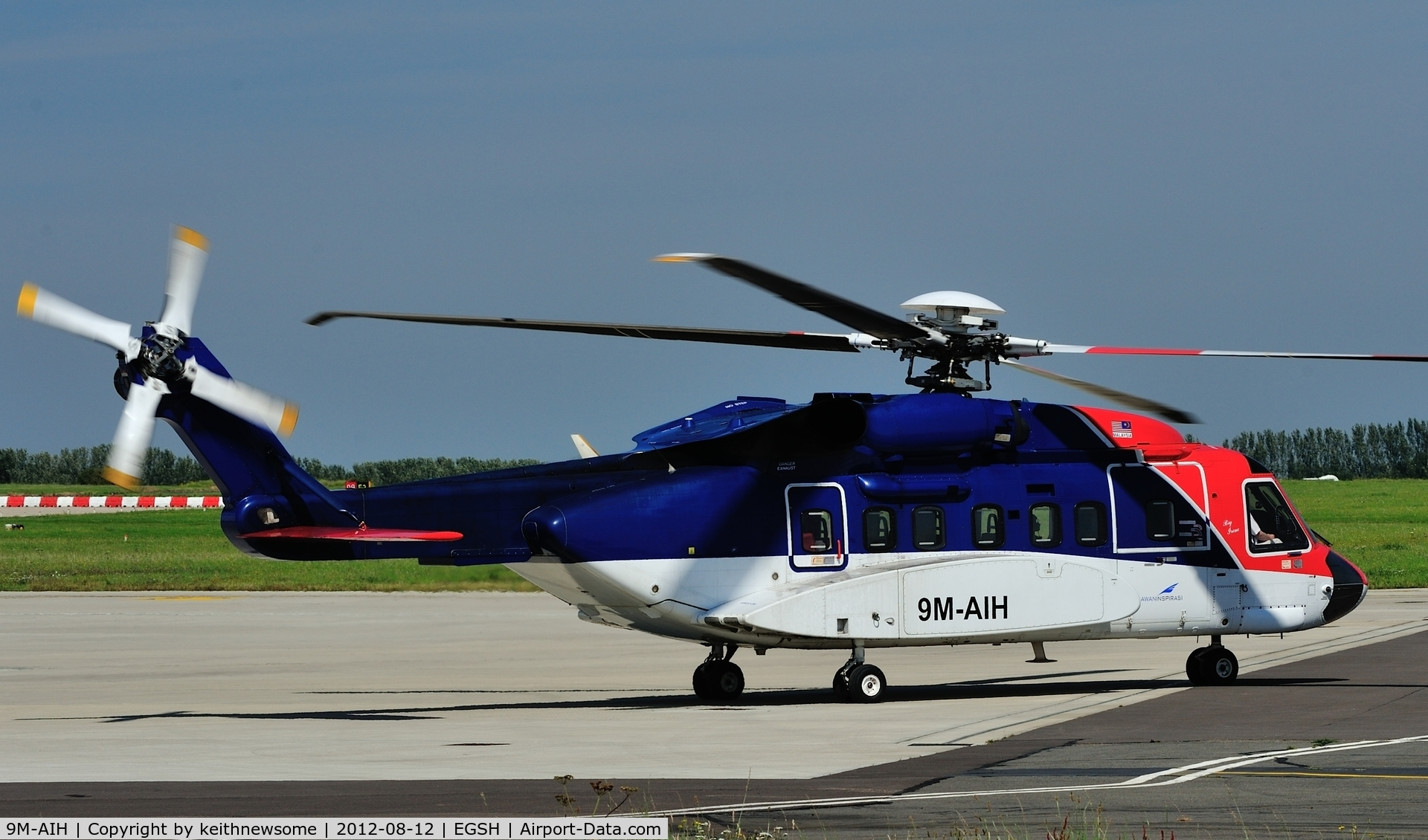 9M-AIH, 2005 Sikorsky S-92A C/N 920024, Leaving after fuel stop on a trip to Aberdeen.