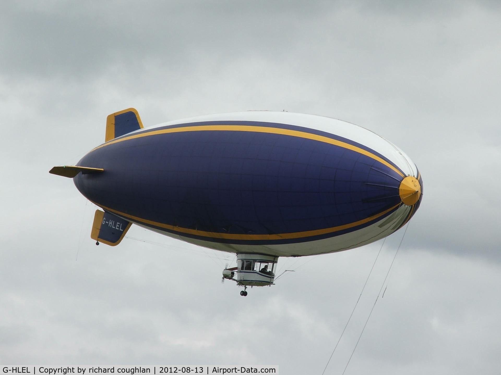 G-HLEL, 1995 American Blimp Corp A-60+ C/N 10, at Cardington hangers without Goodyear branding yesterday