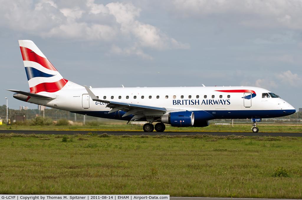 G-LCYF, 2009 Embraer 170STD (ERJ-170-100STD) C/N 17000298, British Airways by CityFlyer Express G-LCYF roll out at 18R ( Polderbaan )