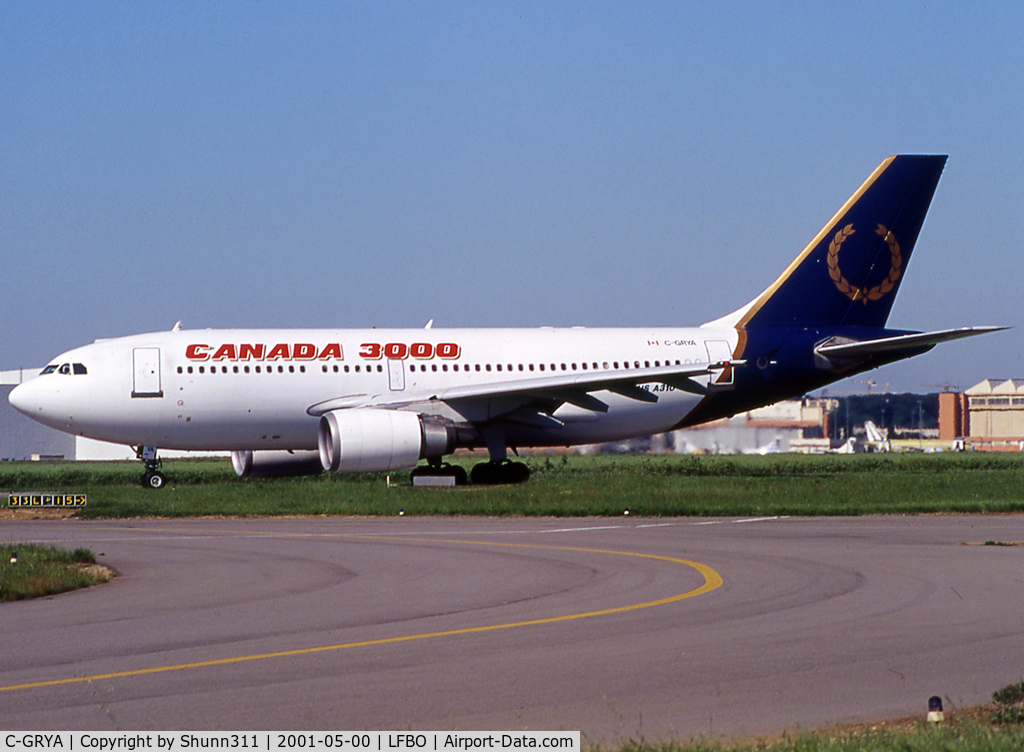 C-GRYA, 1988 Airbus A310-304 C/N 448, Taxiing holding point rwy 33L for departure.... Basic Royal Airlines c/s