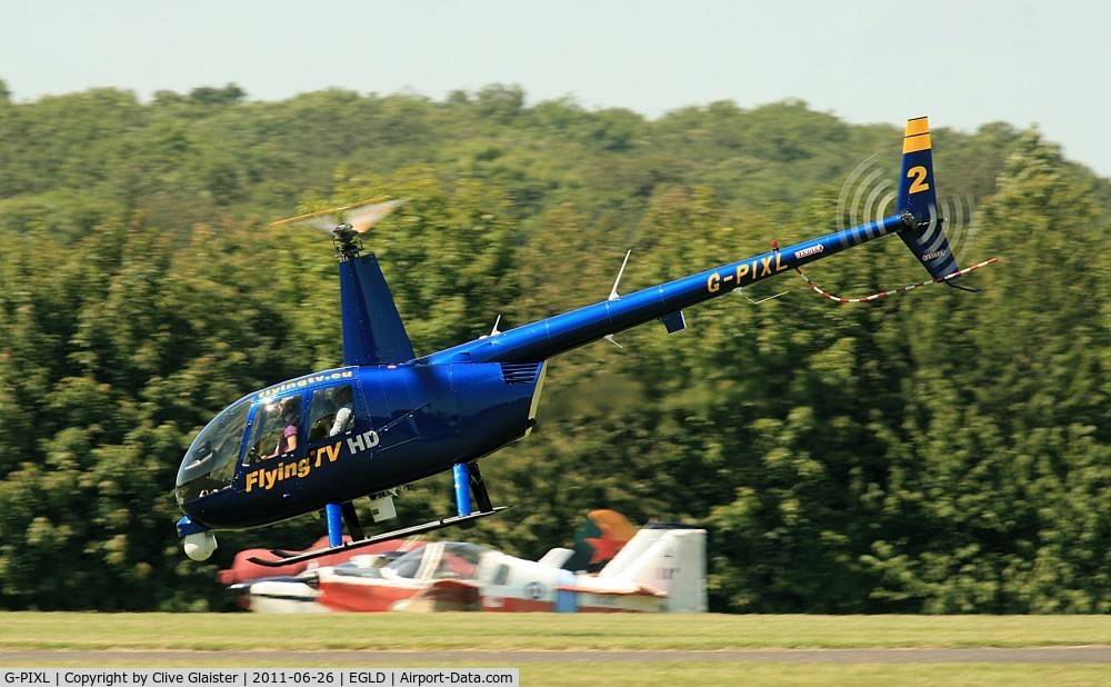 G-PIXL, 2006 Robinson R44 Raven II C/N 11221, Originally owned to and currently with, Flying TV Ltd in July 2006.