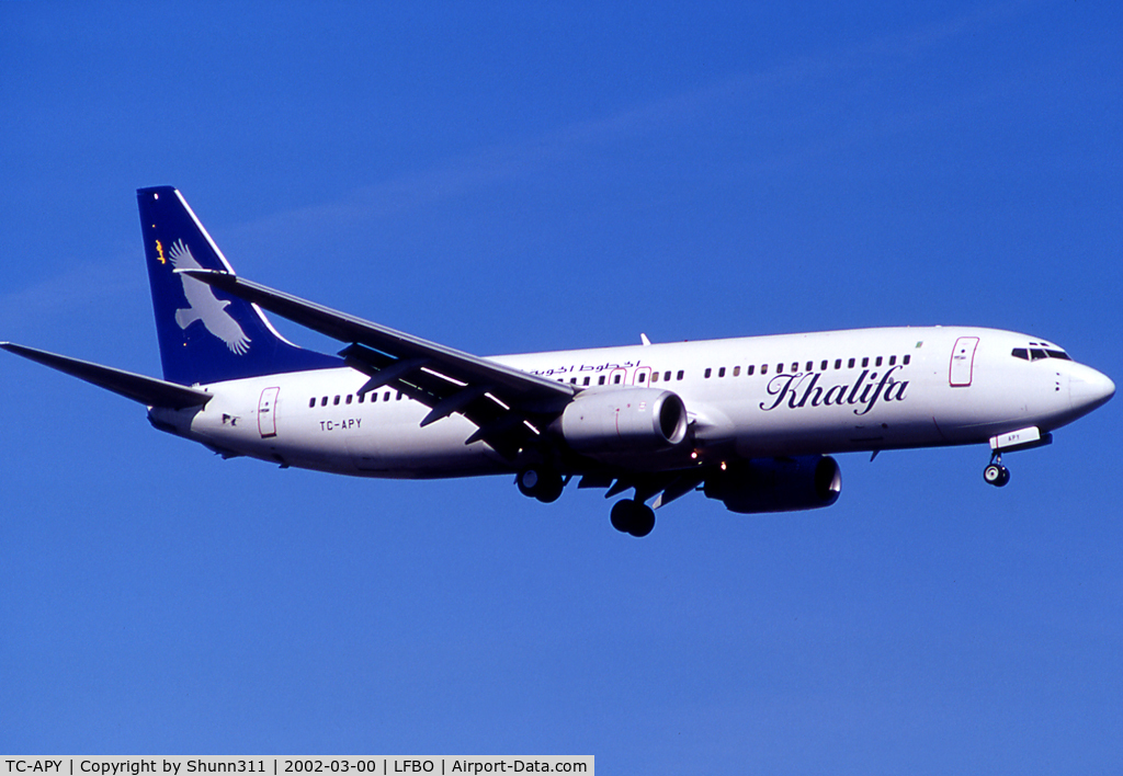 TC-APY, 1999 Boeing 737-86N C/N 28591, Landing rwy 14R