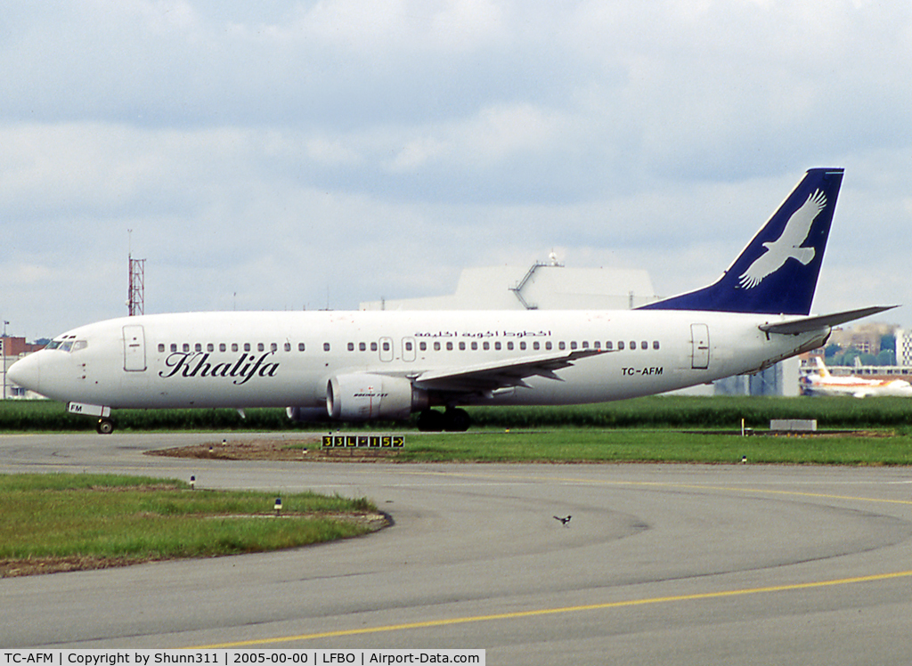 TC-AFM, 1992 Boeing 737-4Q8 C/N 26279, Taxiing holding point rwy 32R for departure...