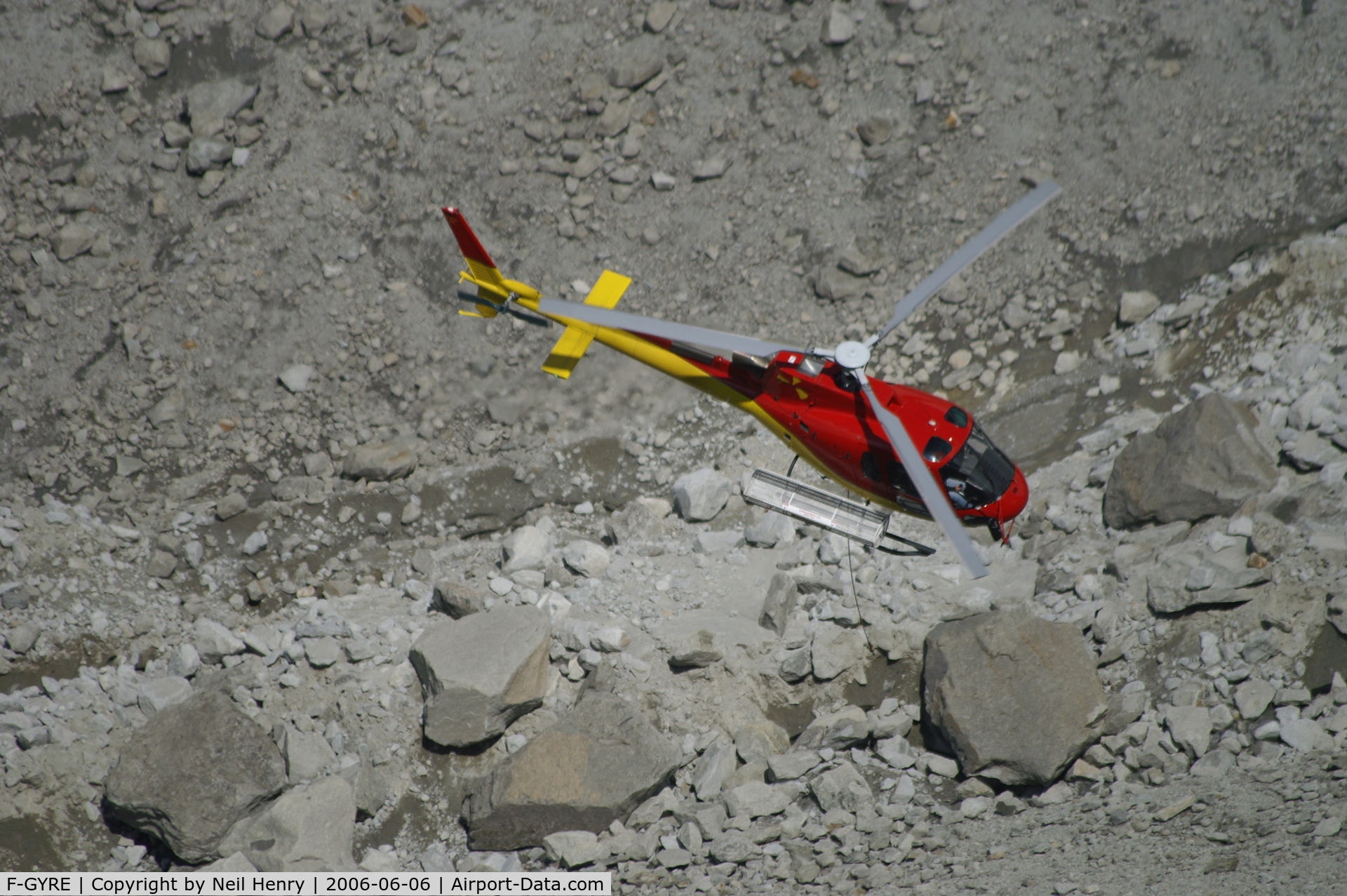 F-GYRE, Eurocopter AS-350B-3 Ecureuil C/N 3818, Rescue helicopter on training exercise over Mer de Glace (glacier) near Chamonix, France