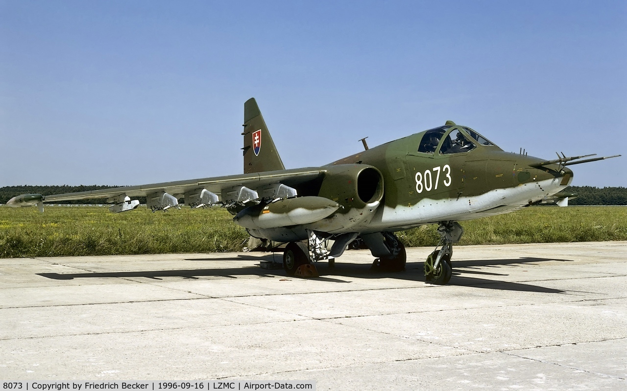 8073, Sukhoi Su-25K C/N 25508108073, flightline at Malacky-Kuchyna Slovakia