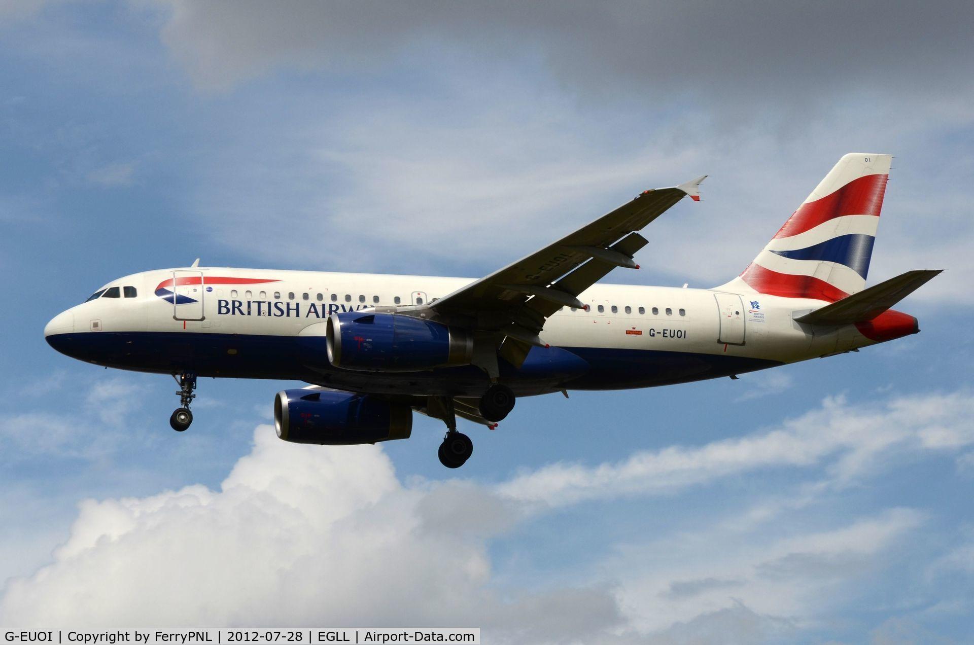 G-EUOI, 2001 Airbus A319-131 C/N 1606, BA A319 arriving