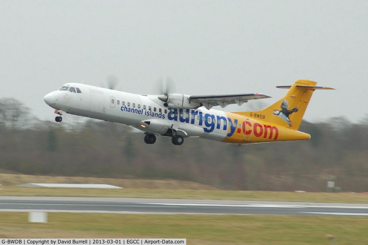 G-BWDB, 1995 ATR 72-202 C/N 449, Aurigny ATR taking off from Manchester Airport