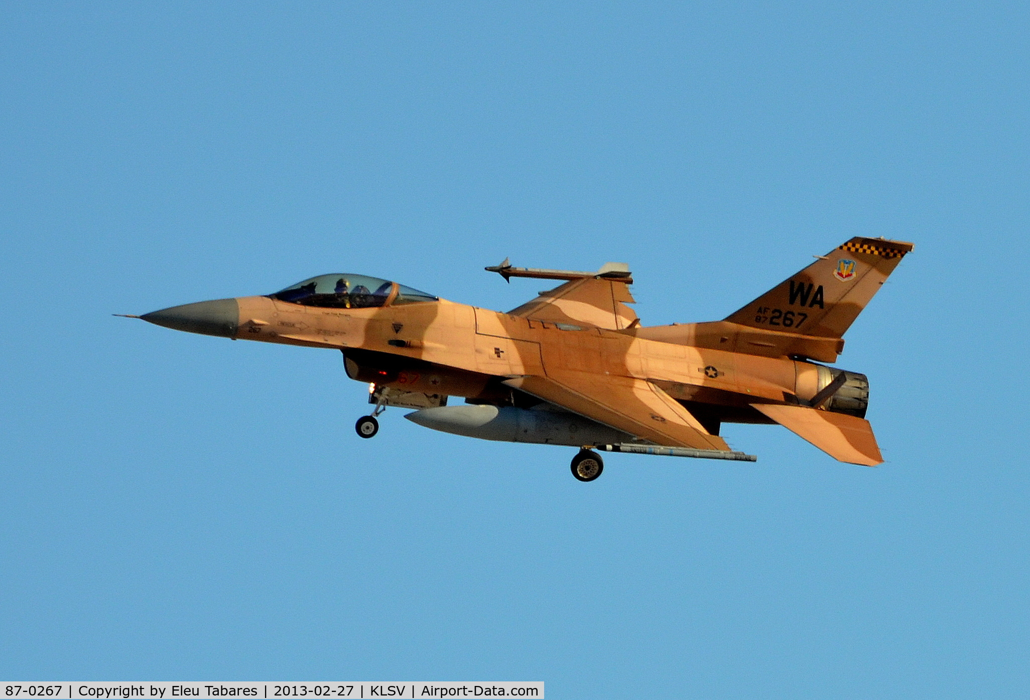 87-0267, General Dynamics F-16C Fighting Falcon C/N 5C-528, TAken during Red Flag Exercise at Nellis Air Force Base, Nevada.