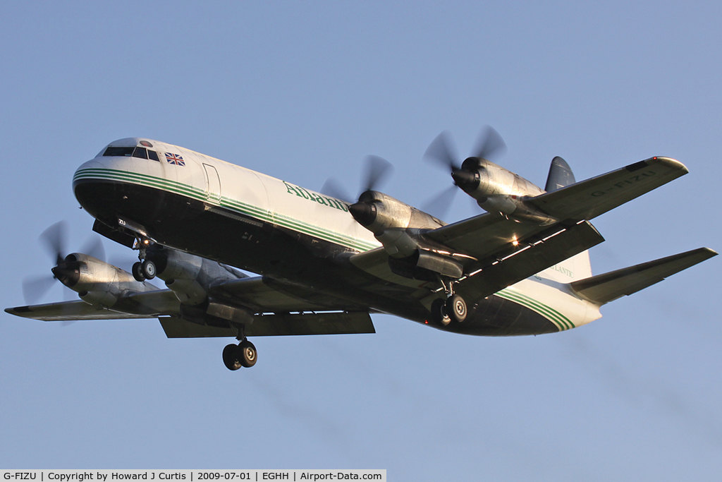 G-FIZU, 1960 Lockheed L-188C(F) Electra C/N 2014, Atlantic Airlines. Landing at sundown - lovely!