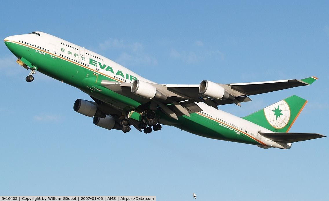 B-16403, 1993 Boeing 747-45E C/N 27141, Take off from runway 24 of Schiphol Airport