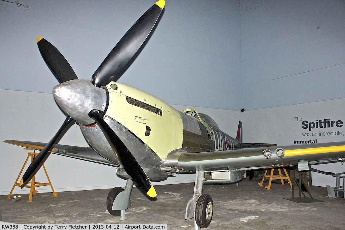 RW388, 1945 Supermarine 361 Spitfire LF.XVIe C/N CBAF.IX.4646, 85% original parts of 1945 Supermarine 361 Spitfire LF.XVIe, c/n: CBAF.IX.4646 on view at Potteries Museum & Art Gallery in Hanley  - a tribute to local born , Spitfire designer , R.J.Mitchell