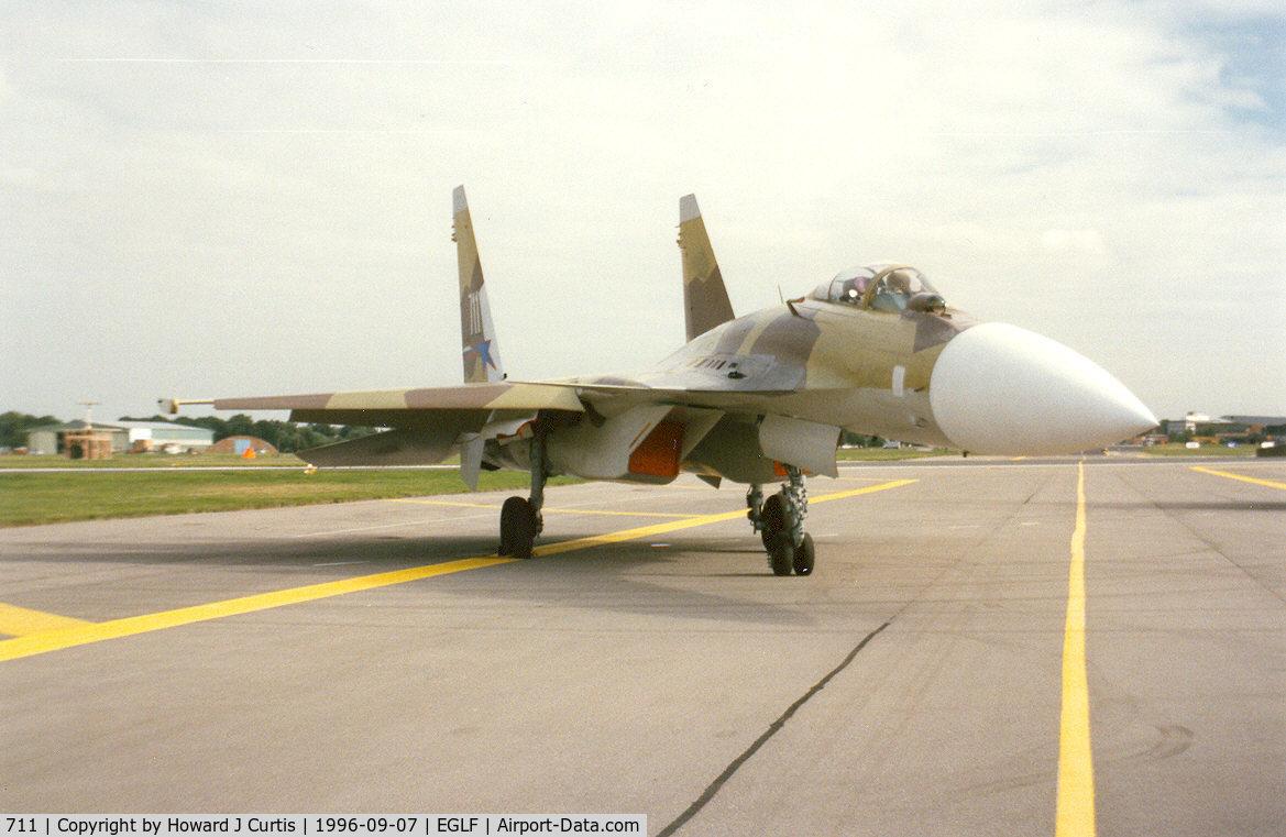 711 WHITE, Sukhoi Su-37 C/N 79871011104, Actually a Su-35 when shown here. At the Farnborough Air Show.