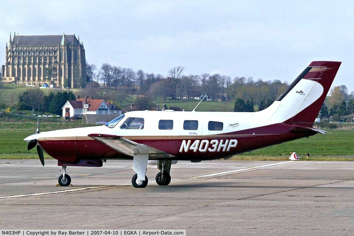 N403HP, 2000 Piper PA-46-350P Malibu Mirage C/N 46-36312, Piper PA-46-350P Malibu Mirage JetPROP DLX [4636312] Shoreham~G 10/04/2007. This aircraft crashed into woods and was written off near Weinerwald Austria whilst en route from Shoreham to Bad Voslau Austria on 2008-12-14.