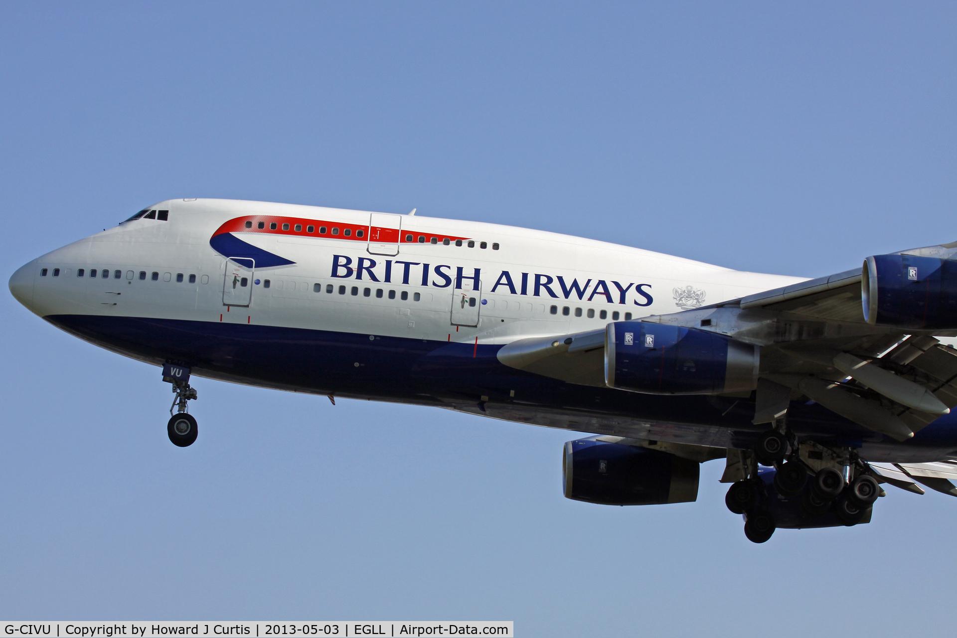 G-CIVU, 1998 Boeing 747-436 C/N 25810, British Airways, on approach to runway 27L.