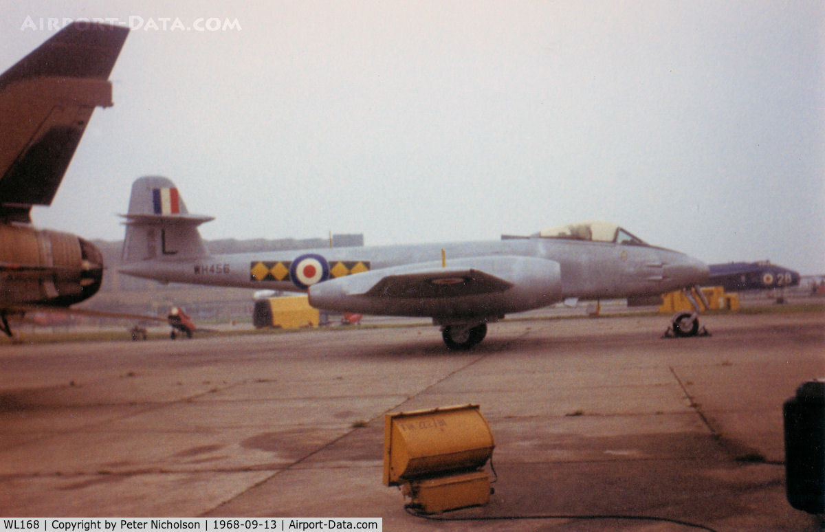WL168, Gloster Meteor F.8 C/N Not found WL168, Gloster Meteor F.8 WL 168 as WH 456 of 616 Squadron on display at the 1968 RAF Finningley Airshow.