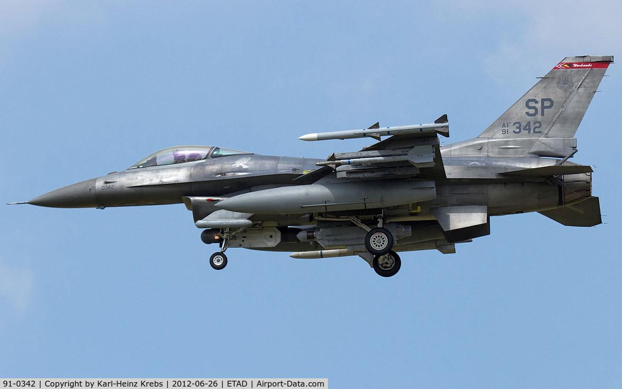 91-0342, General Dynamics F-16C Fighting Falcon C/N CC-40, US Air Force