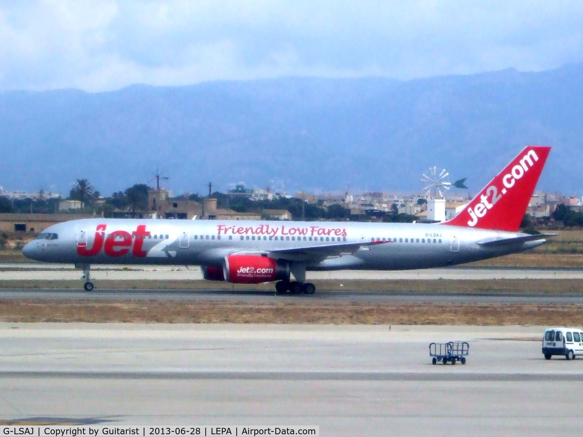 G-LSAJ, 1990 Boeing 757-236 C/N 24793, Just landed on 06L