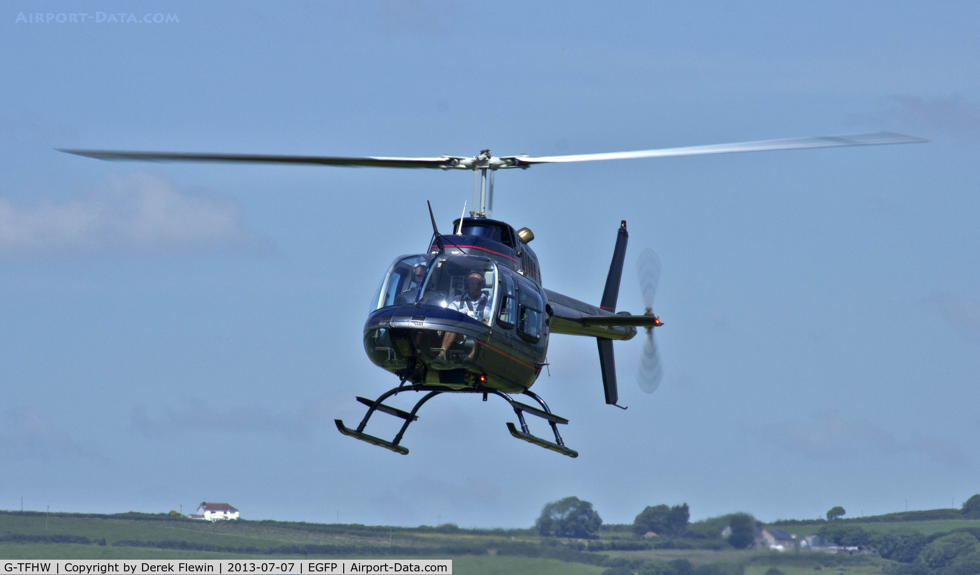 G-TFHW, 1980 Bell 206B JetRanger III C/N 3179, Bell 206B based at Haverfordwest Airport doing pleasure trips from Pembrey, on approach Runway 22.