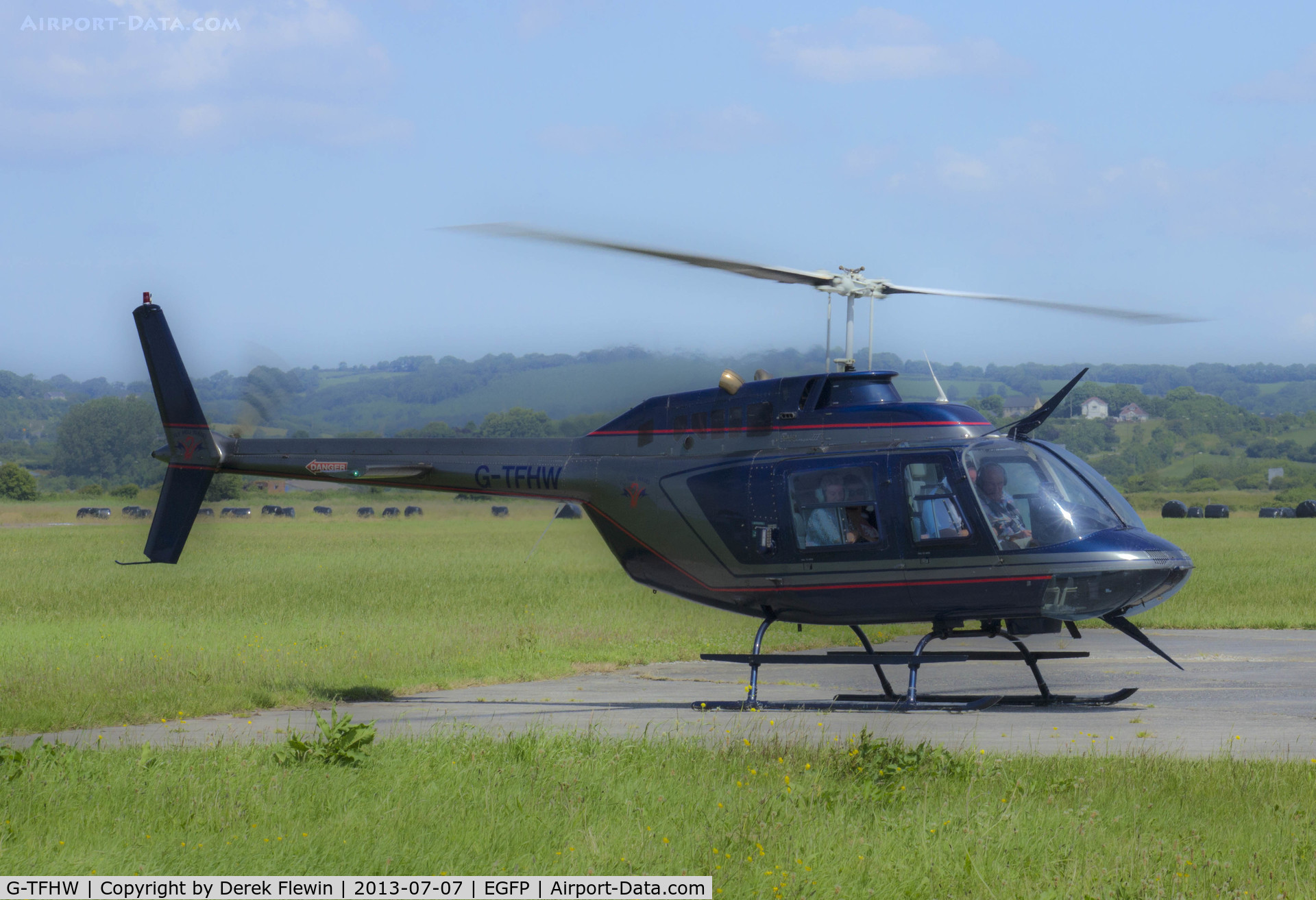 G-TFHW, 1980 Bell 206B JetRanger III C/N 3179, Bell 206B, spooling down on the apron at Pembrey.