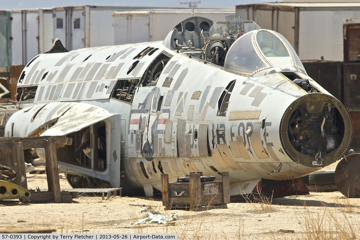 57-0393, 1957 McDonnell F-101F Voodoo C/N 571, In a scrapyard in Rosamond , California