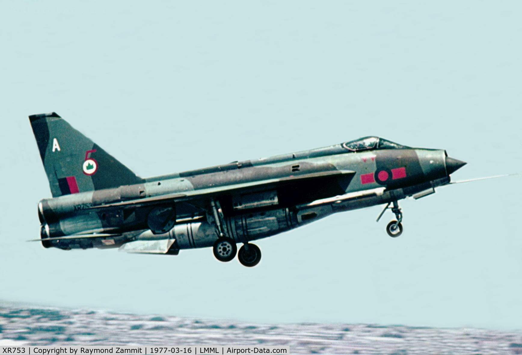 XR753, 1965 English Electric Lightning F.6 C/N 95218, EE Lightning F6 XR753/A of No5 Squadron on finals to Runway06 in March1977. 5Squadron was at that time taking part in an exercise.