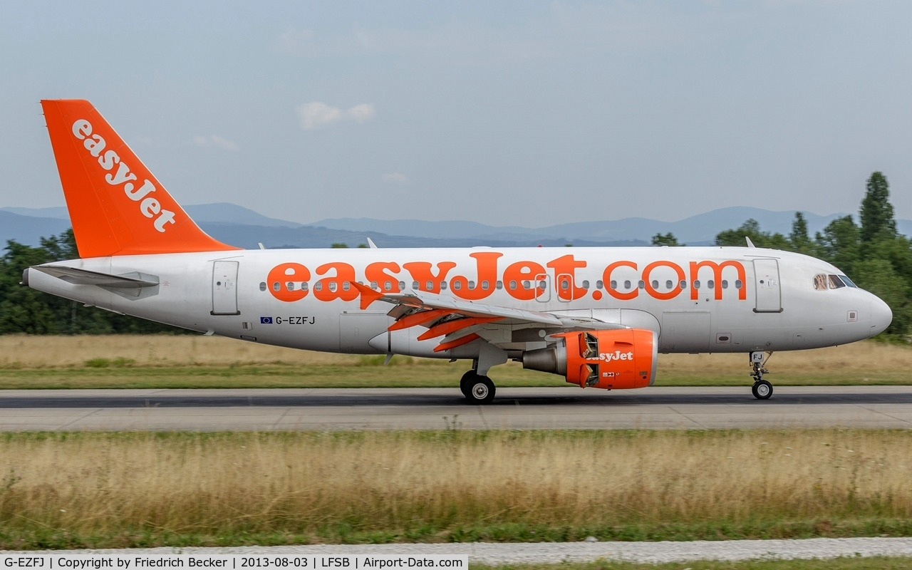 G-EZFJ, 2009 Airbus A319-111 C/N 4040, departure from Basel