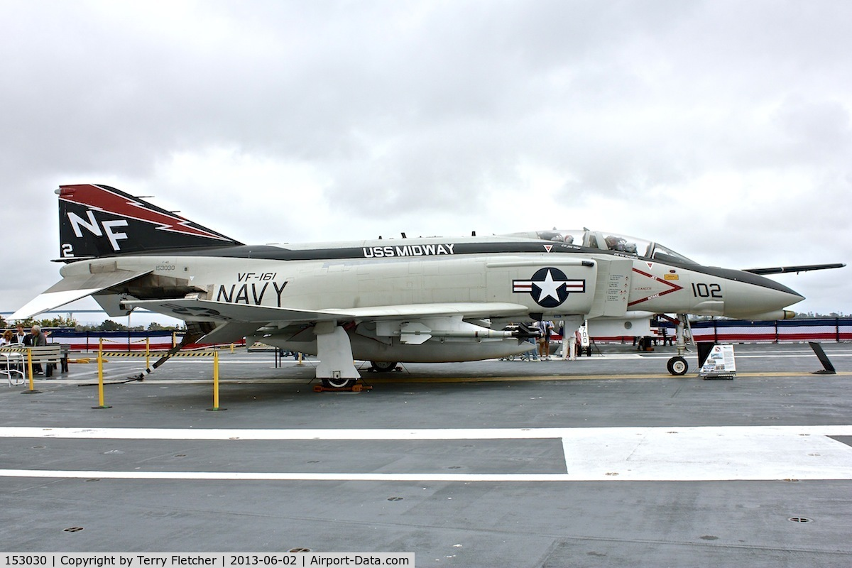 153030, McDonnell F-4N Phantom II C/N 1557, Displayed on the USS Midway on the Waterfront at San Diego , California