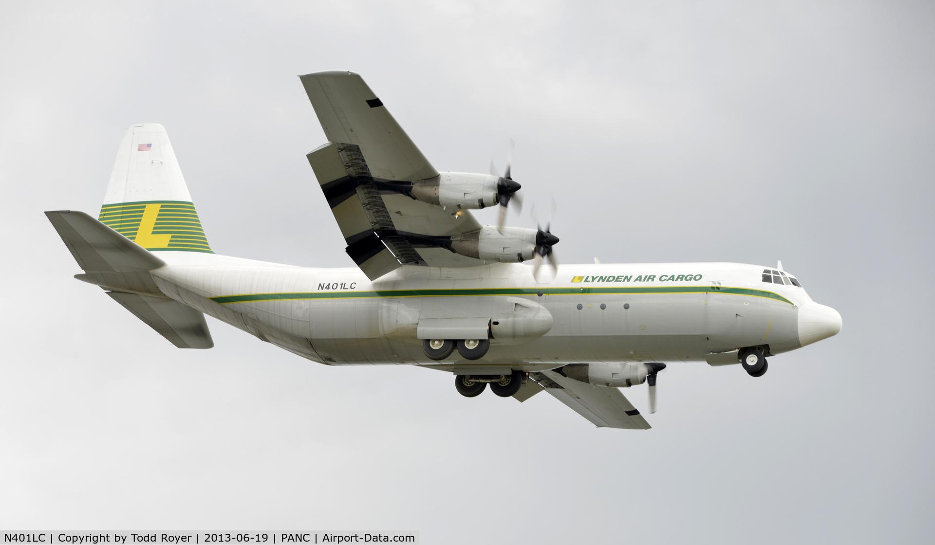 N401LC, 1975 Lockheed L-100-30 Hercules (L-382G) C/N 382-4606, Arriving at Anchorage