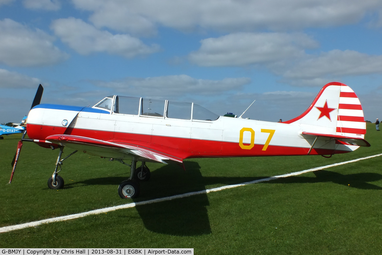 G-BMJY, 1964 Yakovlev Yak C.18A C/N 627, at the LAA Rally 2013, Sywell