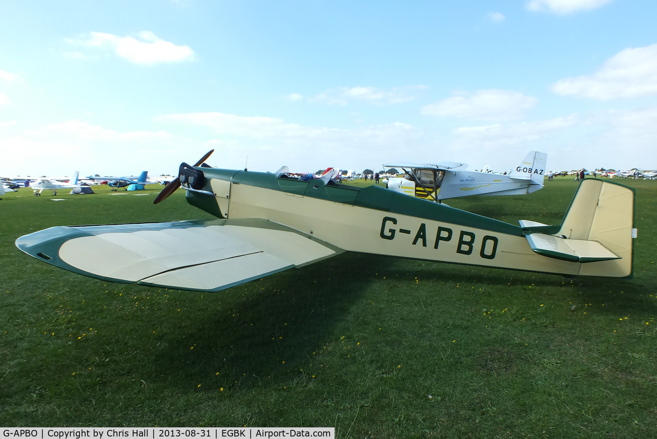 G-APBO, 1960 Druine D-5 Turbi C/N PFA 229, at the LAA Rally 2013, Sywell