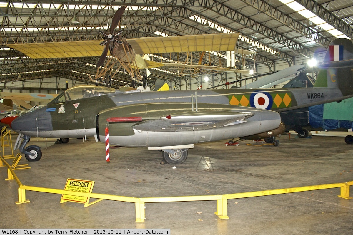 WL168, Gloster Meteor F.8 C/N Not found WL168, Gloster Meteor at Yorkshire Air Museum wears marks WK864