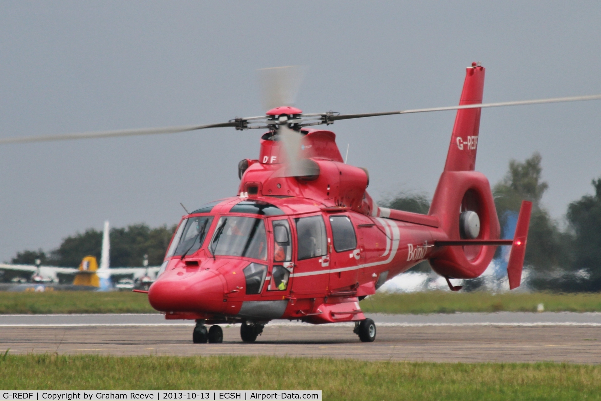 G-REDF, 2009 Eurocopter AS-365N-3 Dauphin 2 C/N 6884, Just landed.