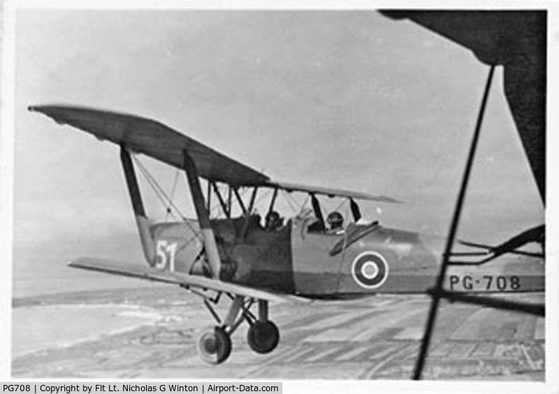 PG708, De Havilland DH-82A Tiger Moth II C/N 86605, Taken at La Rochelle 1946