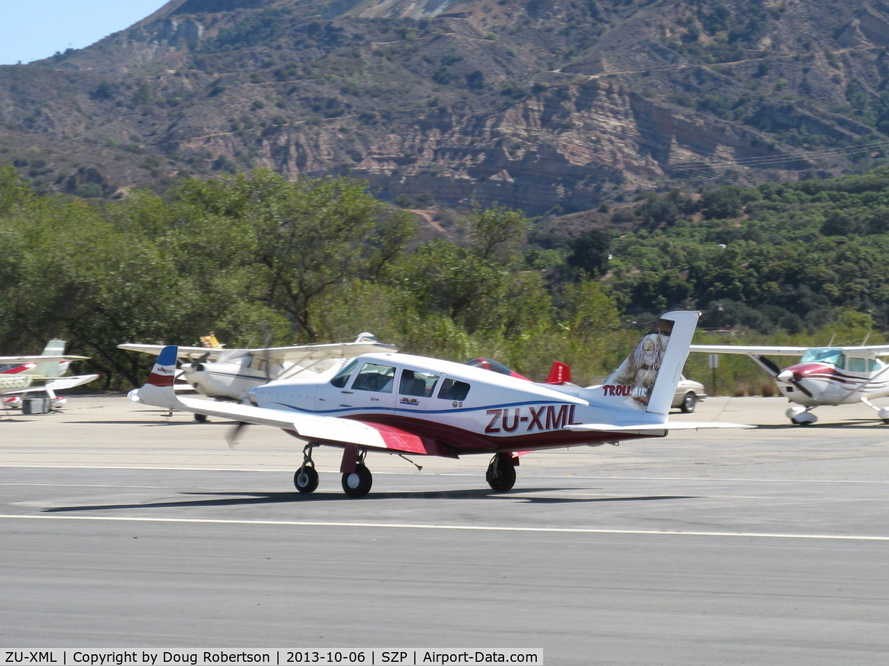 ZU-XML, 2009 Ravin 500 C/N 0905021, 2009 SA Ravin Aircraft CC RAVIN 500, Lycoming IO-540 260 Hp, winglets, of Troll Air on Round the World Solo Flight, pilot Calle Hedberg, 160 gal. wing tanks+ferry tank, South Africa-based, thanks for stopping at SZP! landing roll Rwy 04