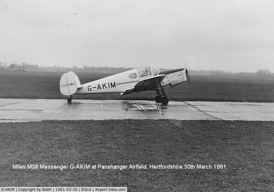 G-AKIM, 1947 Miles M38 Messenger 2A C/N 6724, G-AKIM at Panshanger Airfield, Hertfordshire, march 1961.