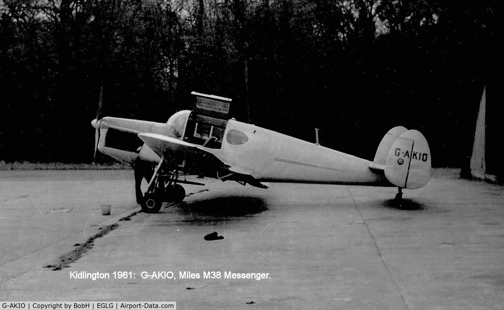 G-AKIO, 1947 Miles M38 Messenger 2A C/N 6729, Taken in April 1961. At Panshanger, Hertfordshire, not as stated on the picture.