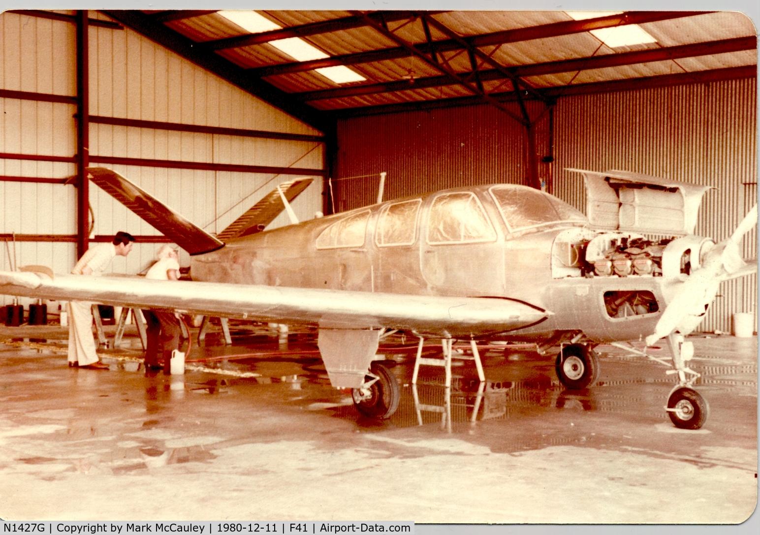 N1427G, 1962 Beech P35 Bonanza C/N D-6903, P35 Bonanza N1427G at Poplawski Aircraft Paint in Ennis, TX (1980)