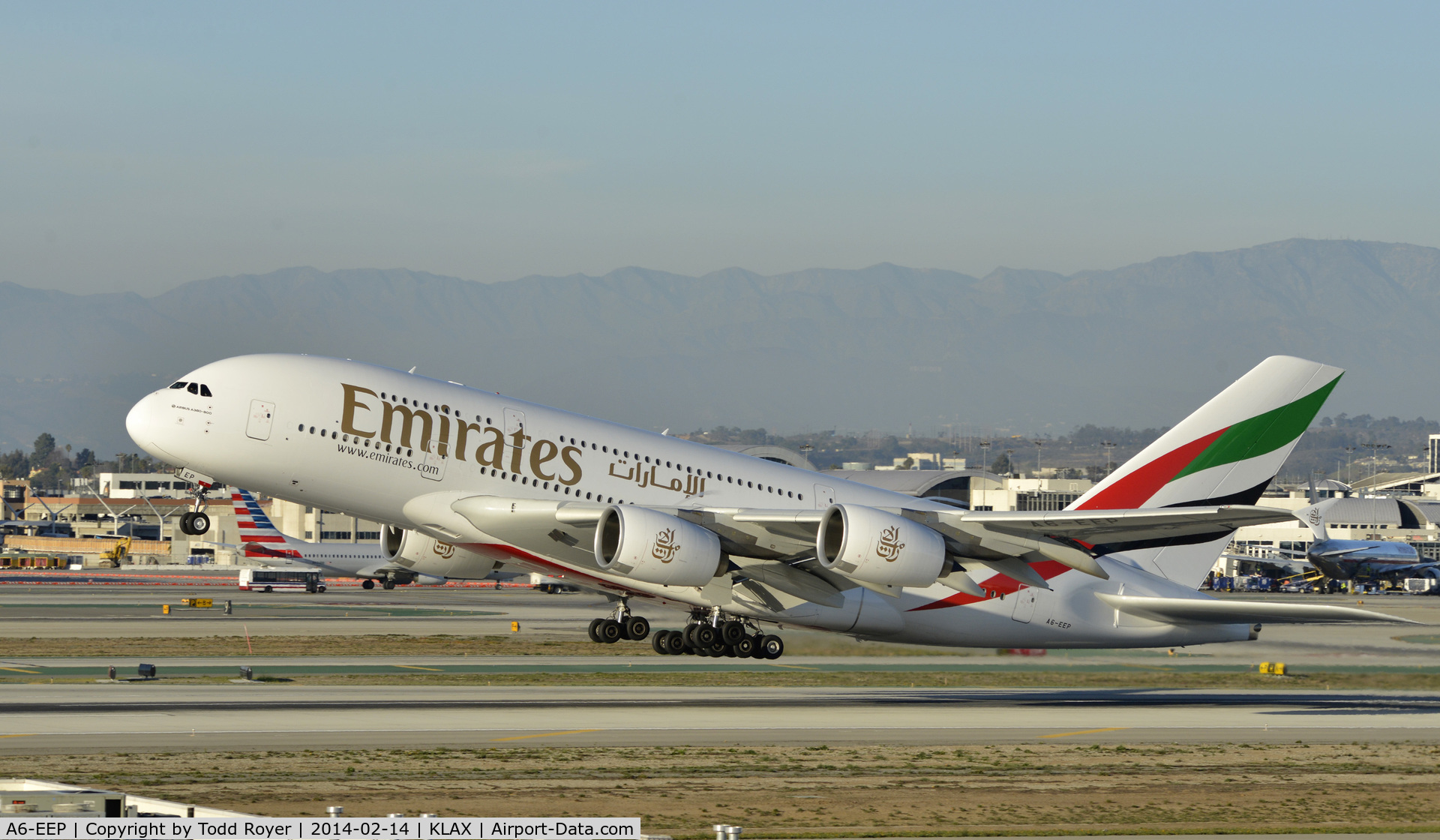 A6-EEP, 2013 Airbus A380-861 C/N 138, Departing LAX on 25L
