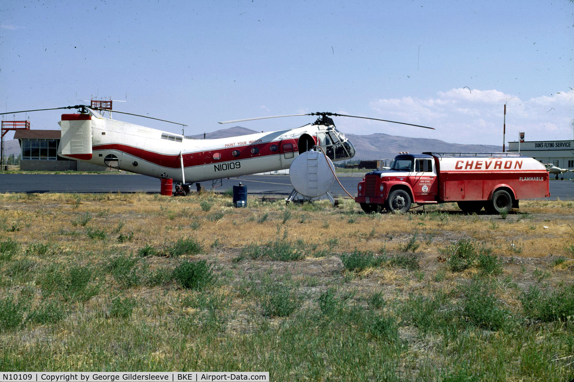 N10109, 1953 Vertol (Piasecki) 42A (H-21B) C/N B.77, Baker Airport with flagstaff hill behind. Baker City, Oregon