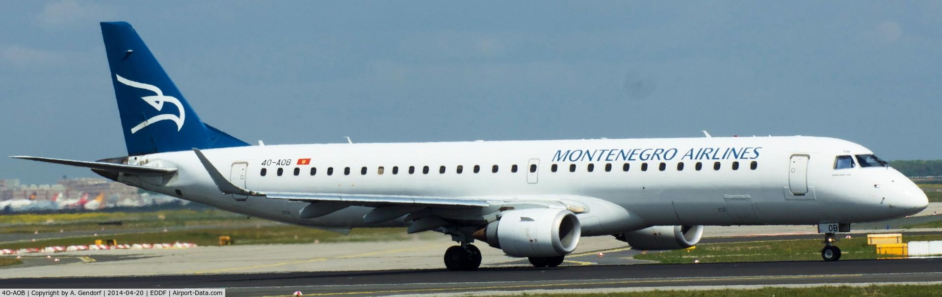 4O-AOB, 2009 Embraer 195LR (ERJ-190-200LR) C/N 19000283, Montenegro Airlines, is here lining up RWY 18 at Frankfurt Rhein/Main Int'l(EDDF)