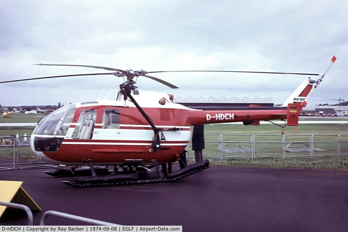 D-HDCH, 1974 MBB Bo-105D C/N S-83, Bolkow Bo.105CB [S-83] (Messerschmitt-Bolkow-Blohm) Farnborough~G 08/09/1974. From a slide.