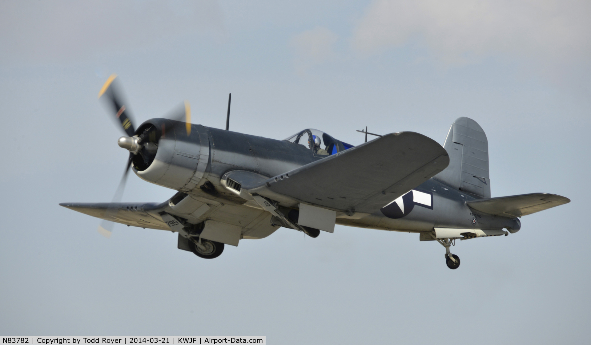 N83782, 1942 Vought F4U-1 Corsair C/N 3884 (Bu 17799), Departing Fox Field Lancaster California