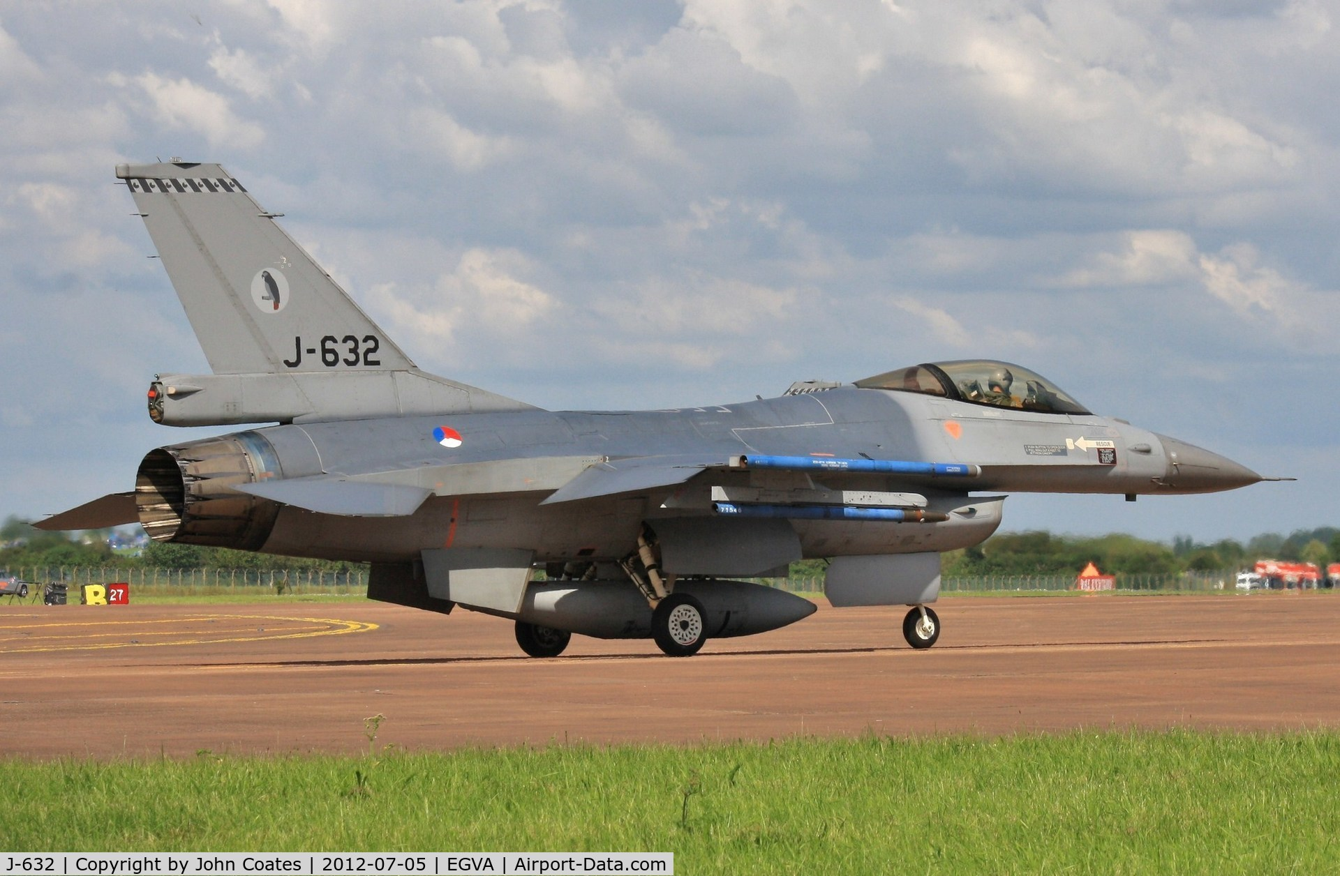 J-632, General Dynamics F-16A Fighting Falcon C/N 6D-64, Arriving for RIAT