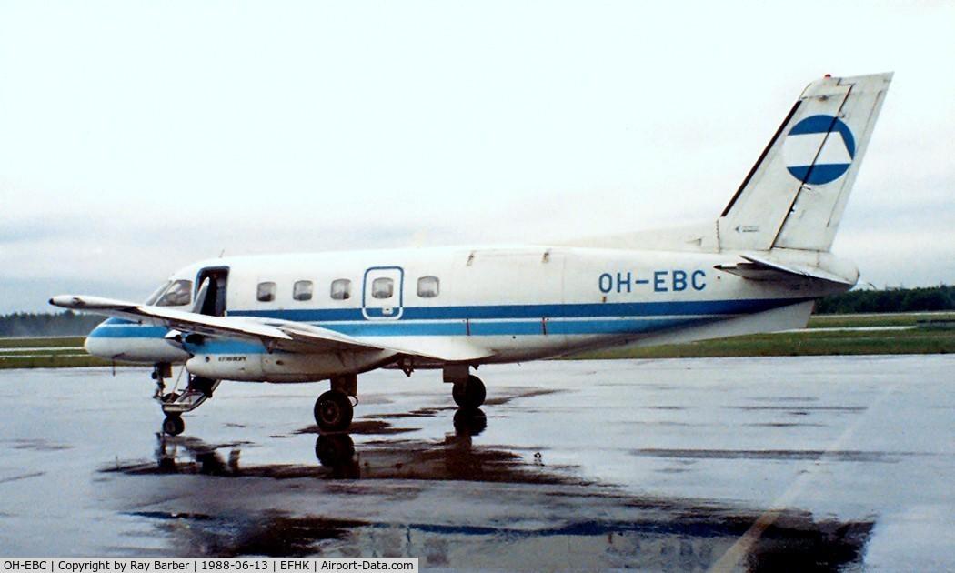OH-EBC, 1980 Embraer EMB-110P1 Bandeirante C/N 110258, Embraer EMB-110P1 Bandeirante [110258] (Finnair) Helsinki-Vantaa~OH 13/06/1988. From a slide.