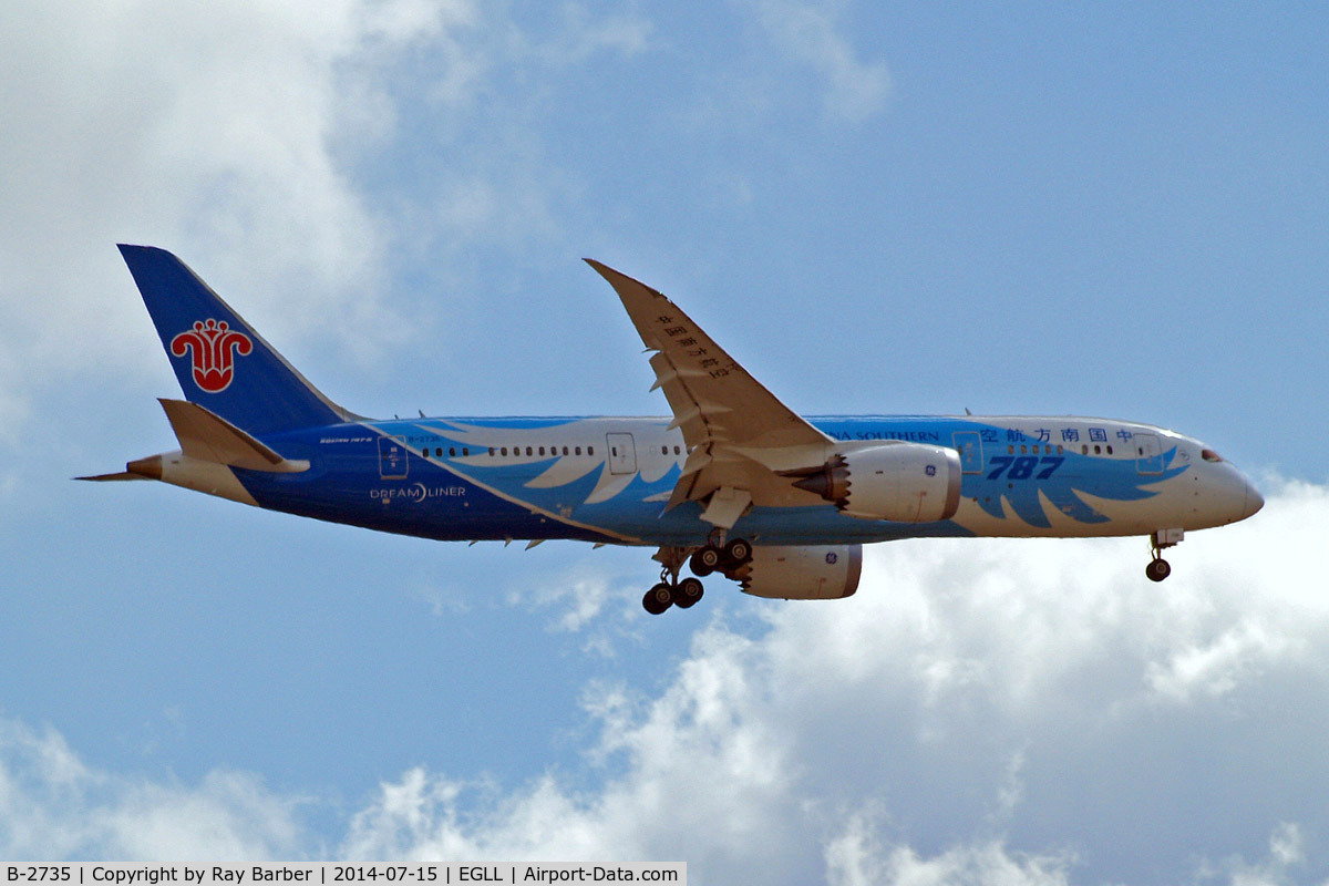 B-2735, 2013 Boeing 787-8 Dreamliner C/N 34928, Boeing 787-8 Dream Liner [34928] (China Southern Airlines) Home~G 15/07/2014. On approach 27L.