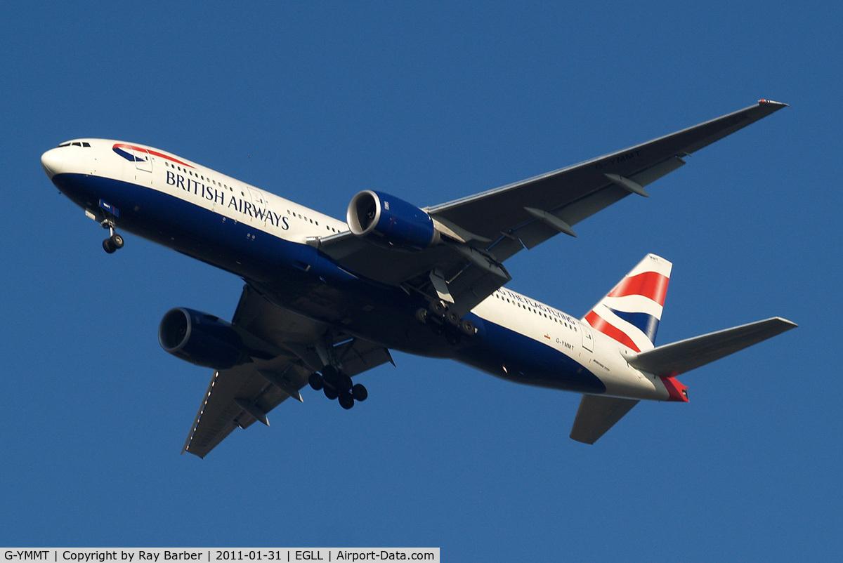 G-YMMT, 2009 Boeing 777-236/ER C/N 36518, Boeing 777-236ER [36518] (British Airways) Home~G 31/01/2011. On approach 27R wearing